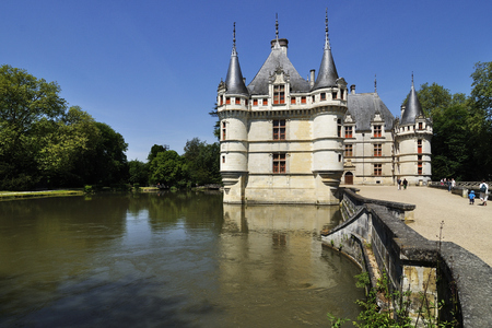 The chateau de Azay-le-Rideau, FRANCE-JUNE 2013: This castle is located in the Loire Valley, was built from 1515 to 1527.