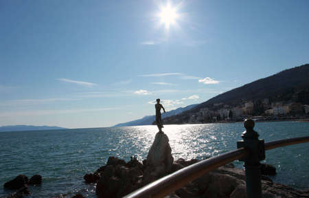 horisontal: Statue Maiden with the seagull, simbol of Opatija, city in Croatia