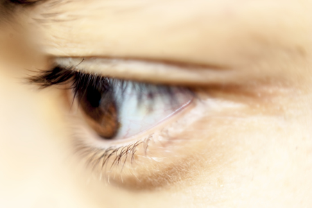 expressing artistic vision: Close up of a human eye. Stock Photo