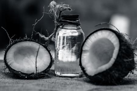 Dry Coconut & Oil on gunny Bag. Zdjęcie Seryjne
