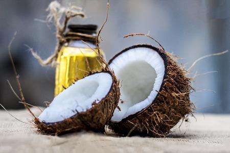 Dry Coconut & Oil on gunny Bag. Stock Photo