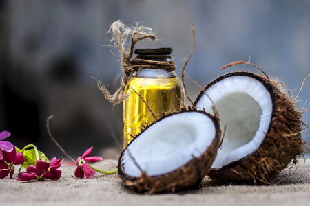 Dry Coconut & Oil on gunny Bag. 스톡 콘텐츠