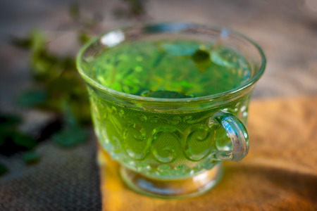 Green tea of holy basil,Ocimum tenuiflorum,tulsi for weight loss and skin care.