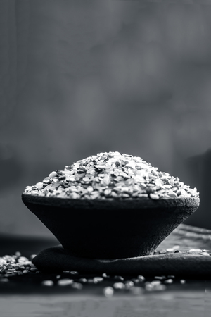 Ingredients  Lentils of Kicdi,Khichdi and rice in a clay bowl. Stock Photo