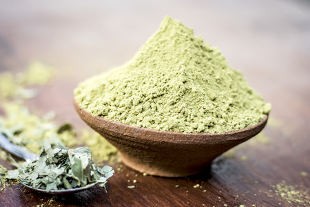Raw organic powder of Henna,Lawsonia inermis in a clay bowl with its dry leaves on wooden surface. 免版税图像 - 92264851