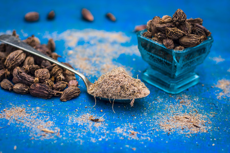 Raw black cardamom on a bluish surface with its powder.;