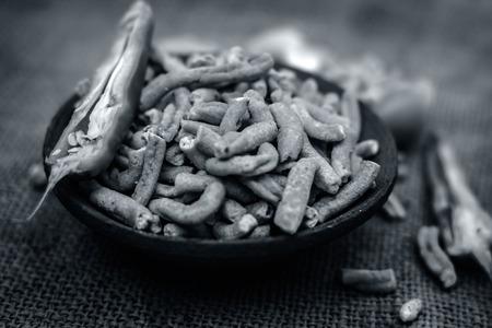 Close up of Indian snack spicy gathiyaGarlic gathiya
