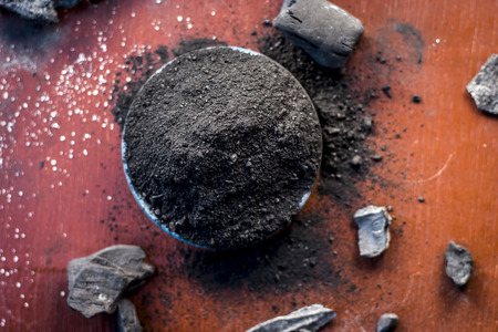 Close up of coal powder for toothache and toothpaste of traditional Asia.