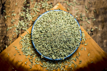 Close up of traditional mouth fresheners essential herb variyali,fennel or Foeniculum vulgare in a glass plate.