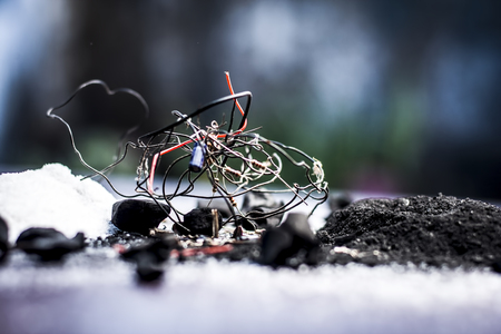 Close of ingredient or mixture of Earthing system or Grounding system i.e Coal,coal powder,salt,sodium chloride,and wires. Stock Photo
