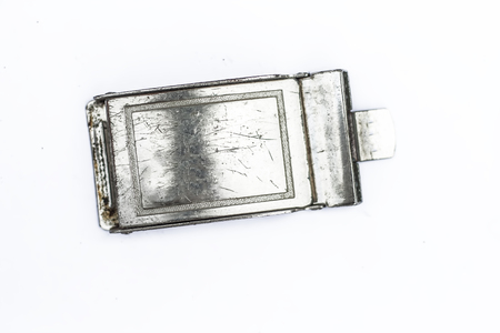 An stainless steel buckle isolated on white of an leather belt.