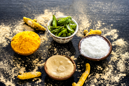 Haldi ubtan with all its ingredients i.e. aloe vera gel,curd or yogurt, and turmeric removes acnes and black skin and makes the skin softer and brighter. Stock Photo
