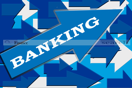 Blue and gray color arrows in different designs and Banking written on a main big arrow and a search bar written Finance. Stock Photo
