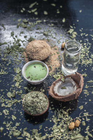Ayurvedic face pack of Coconut water,fuller's earth or mulpani mitti, neem with its fruit and dried leaves and the mixture on wooden surface helps to cure white heads and pimples. Reklamní fotografie