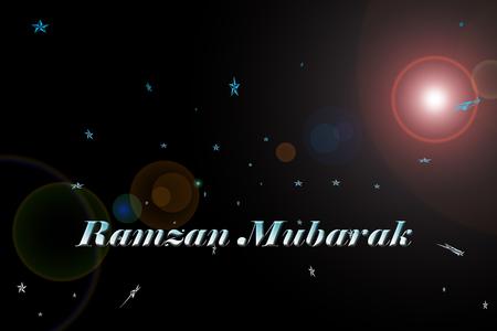 RAMZAN MUBARAK or RAMADAN MUBARAK written on a black background with glowy lens flair. Stock Photo