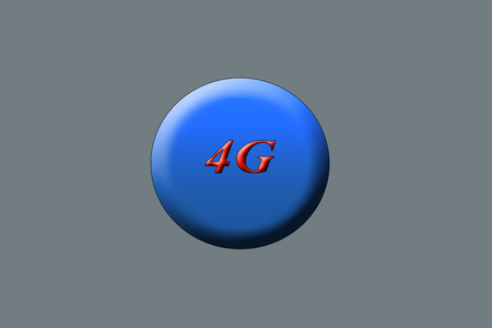 4G written with red color on a blue circle. Stock fotó