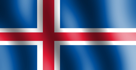 National flag of Iceland with wrinkle of air and waving through the direction of air.