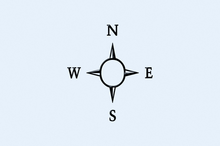 Compass sign or symbol with written N,S,E,W north, south ,east, and west direction on it.