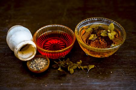 Remède maison ayurvédique efficace et fidèle pour la fièvre et peut être un rhume: miel cru, poivre noir et menthe ou menthe poivrée.