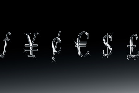 Popular currency symbols or icons of gold color with its shadow or reflection.