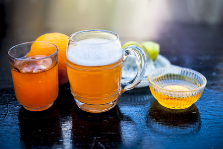 Close up of popular summer drink i.e. Ginger beer on wooden surface with Stock Photo