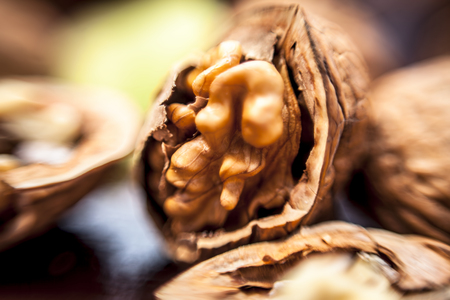Macro shot of raw organic walnuts in sell on wooden surface. Stock Photo