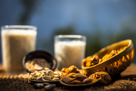 Close up of popular Indian and asian Winter drink on brown colroed gunny bag's surface i.e. Kharek ka dudh or dried dates milk consisting of milk,dried dates,cashews,almonds dry fruits and sugar. Фото со стока - 124596367