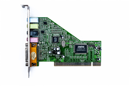 Junagadh-Gujarat-India-12th December,2018- Close up of green colored Sound card isolated on white used in CPUs for good quality sound.