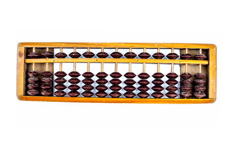 Close up of wooden abacus or counting frame with brown colored beats in it.Isolated on  white.
