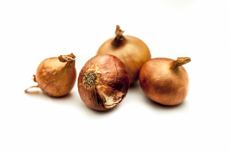Close up of raw organic Onion vegetable isolated on white also known as pyaaj or pyaaz or Allium cepa. Imagens