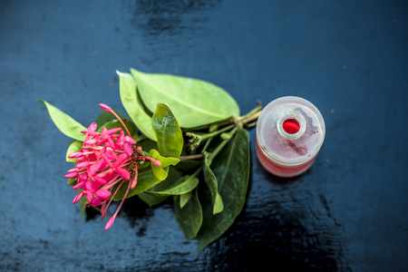 Close up of red colored pentas flower or Egyptian Star Flower or jasmine on wooden surface with its extracted essential oil in a transparent bottle. Фото со стока - 122951559