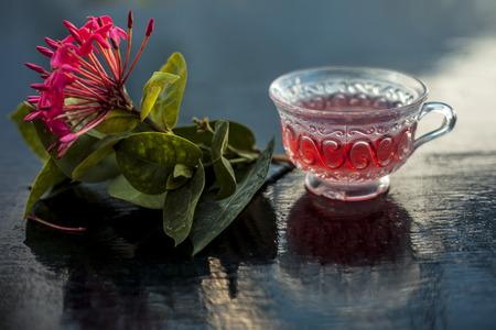Nahaufnahme von rot gefärbten Pentas-Blumen oder ägyptischen Sternblumen oder Jasmin auf Holzoberfläche mit seinem extrahierten wohltuenden entgiftenden Tee in einer Glastasse. Standard-Bild