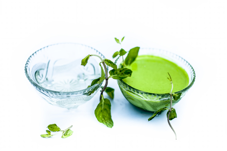 Best home remedy or treatment to reduce rashes isolated on white consisting of mint and water in a glass bowl with raw mint leaves and its juice or pulp and water.