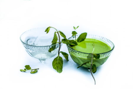 Best home remedy or treatment to reduce rashes isolated on white consisting of mint and water in a glass bowl with raw mint leaves and its juice or pulp and water. Imagens - 122951975