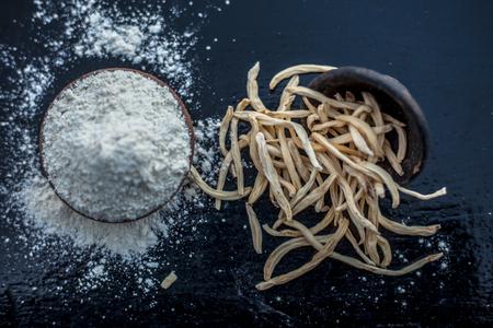 Popular Indian & Asian ayurvedic organic herb musli Safed Moosli Shaqaqule Dholi Musli Khiruva Shedheveli Swetha Musli Taniravi Thang in a clay bowl on wooden surface with its powder also.