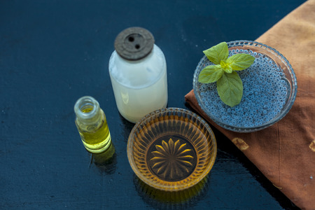 Best home remedy to cure diabetes or for diabetes treatment on wooden surface consisting of sabja seeds or sweet basil seeds or basil seeds well mixed with raw milk and some vanilla for flavor.