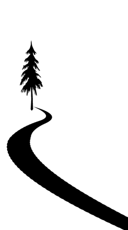 Road silhouette drawn on a white colored background with a tree at the starting point. Stockfoto