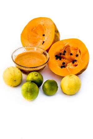Papaya face pack isolated on white i.e.