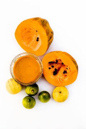 Papaya face pack isolated on white i.e.