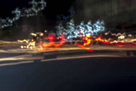 Light trails with mainly yellow and red color. Reklamní fotografie - 125077034