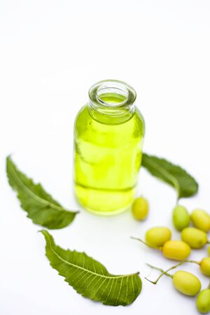Fresh green neem fruit of Indian Lilac fruit in a clay bowl isolated on white along with its oil in a transparent glass bottle. Vertical shot. Banque d'images