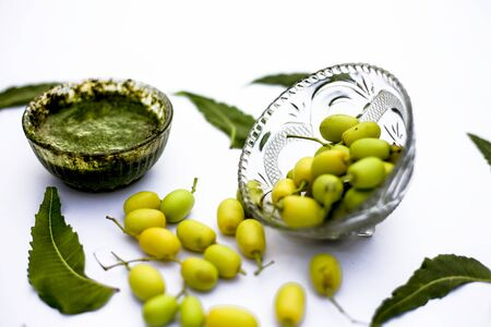 Neem paste or nim paste in a glass bowl isolated on white along with neem fruit in another bowl and some leaves also in it. Standard-Bild