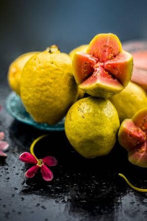 Skin whitening remedytreatment on the black shiny surface consisting of guava pulp and honey. Also used in the spa as a face mask.