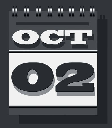 October second calendar note, Gandhi Jayanti or the birth anniversary of Mahatma Gandhi and the International Non-violence day calendar icon isolated on grey wall textured background.