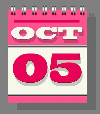 Calendar note of fifth October indicating World Teacher's day against grey colored wall textured background.