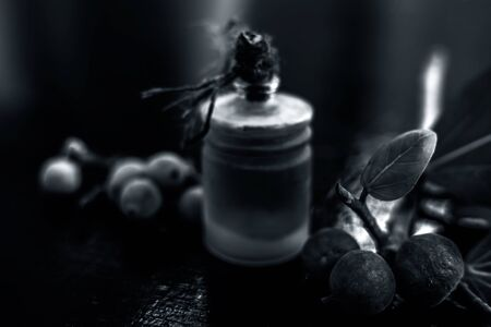 Close up shot of essential banyan tree oil in a transparent glass bottle along with some banyan fruit and its leaf on a black glossy wooden surface. Horizontal shot.