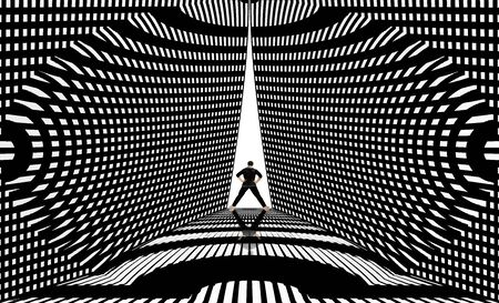 Artistic futuristic shot of a man on disco stage or something like that with creative black line design around it in black and white colors horizontal shot.