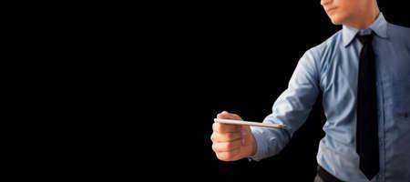 Portrait shot of corporate businessman posing isolated on black background. 免版税图像 - 159233424