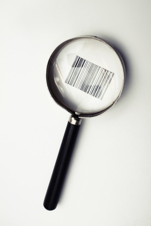 forensics: Magnifier on white background Stock Photo