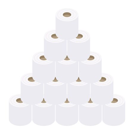 Isometric Stacked Pyramid Toilet Paper Illustrations Reklamní fotografie - 147212462